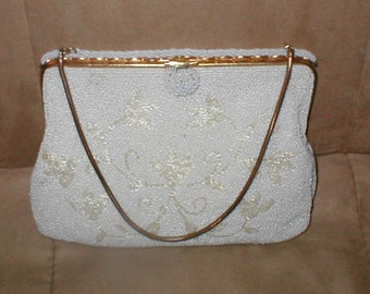 Vintage White Beaded Evening Purse made in France