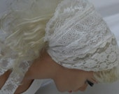 Head Covering  (  RESERVED   FOR JANET  )  Women or Teen Girls, Tichel,   Prayer Headcover,  White / Ivory Laces , Wedding