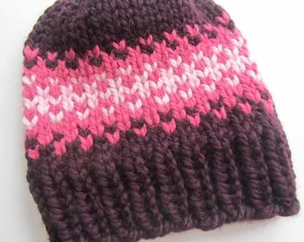 Purple and Pink Fair Isle Knit Hat, Fair Isle Hat, Knit Hat, Women's Knit Hat, Men's Knit Hat, Hand Knit Hat, Knit Hat, Chunky Knit Hat