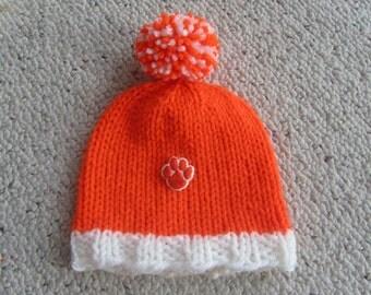 CLEMSON TIGERS Hand Knit Baby Hat, Clemson Baby Hat, Clemson University, Hand Knitted Baby Hat, Football Baby Hat, Sports Baby Hat