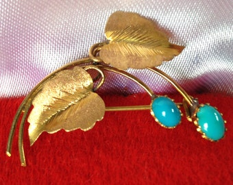 Genuine Gold and Turquoise Vintage Leaf Pin 1960's with Crown Mark