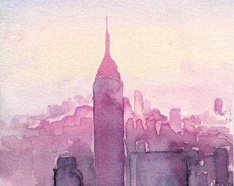 Watercolour illustration Titled A Pink Sunset in New York