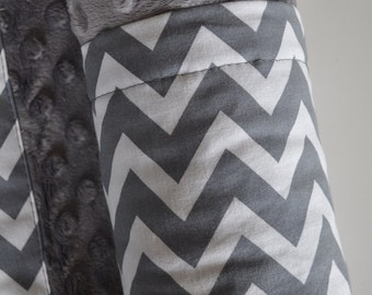 Gender Neutral Baby Infant Minky XLARGE Snuggle Blanket, Grey Chevron and Grey Minky