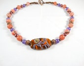Brown Beauty Necklace with Lampwork Focal Bead