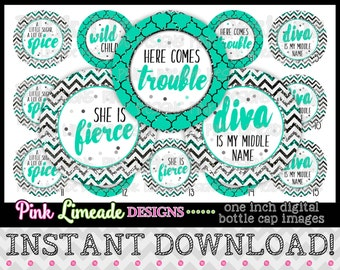 "Sparkly Diva Sayings - INSTANT DOWNLOAD 1"" Bottle Cap Images 4x6 - 902"