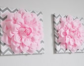 "Flower Wall Hanging Decor Decor -Light Pink Dahlia on Pink and Gray Chevron 12 x12"" Canvas Wall Art- Baby Nursery Wall Decor-"