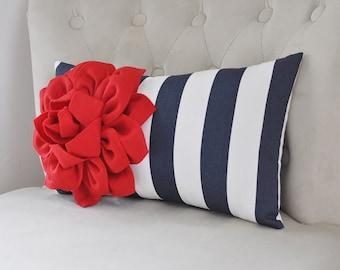 Red White Blue Decor Long Pillow  Patriotic Home Decor/ Lumbar Pillow/ Blue Striped Decor / Star Home Decor/ Decorative Home Decor/ Pillows