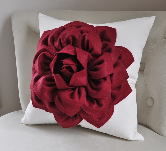Housewarming-Deep Ruby Red- Autumn Red Mum Cream Pillow - Dahlia Bedding-Autumn Home Decor-Woodland Home Decor-Couch Throw Pillow-Holiday