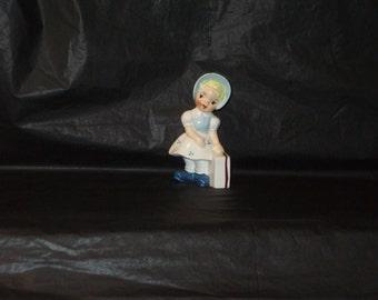 Vintage Japan UCAGCO Girl With Suitcase Figurine