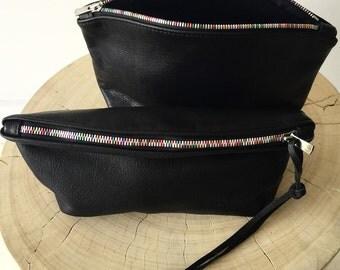 Black leather clutch with Rainbow zipper