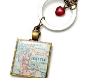 seattle vintage map necklace | 1964 Standard Oil Map | seattle necklace | seattle washington | traveler