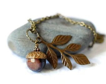 Rustic Agate Acorn Necklace Branch Leaf Necklace Boho Chic Stone Pendant Brown Necklace Black Agate Necklace Layered Necklace Antique Brass