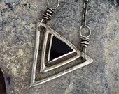 FREE SHIPPING---Black Onyx Triangle Motif Necklace---UPCYCLED---Sterling Silver---Creations by Sandy