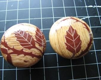 Wood drawer pulls | dresser knobs | rustic cabinet | botanical | vine | leaf