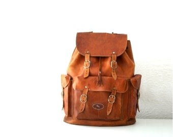 Vintage Leather Backpack.