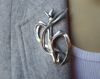 Ming's of Honolulu Sterling Silver Brooch , Sugar Cane, Estate Jewelry, Sterling Brooch