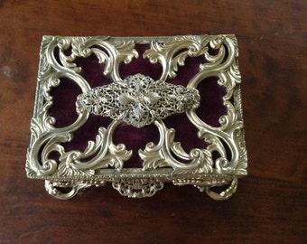 Vintage Filigree Jewelry Box Gold Metal Trinket Box