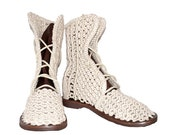 order for Teresa Handmade Crochet Linen Boots - Macrame Shoes - Summer Boots - Wedding Boots - Linen Shoes
