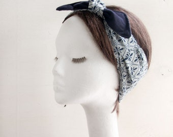 Vintage Kimono, Silk Headscarf, Bow Headwrap, fabric head wrap, Summer Beach scarf, Bow, Headband,Boho head Wrap, White scarf, Floral