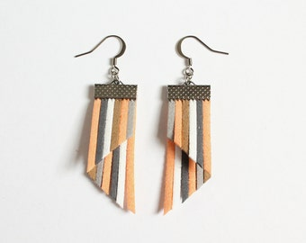 Color Stripes Earrings - Peach Gray White