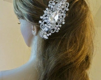 Rhinestone Hair Clip, Crystal Bridal Hair Clip, Wedding Bridesmaid Headpiece