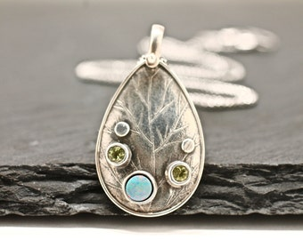 Silver Necklace , Pendant Necklace , Opal Necklace , Peridot Necklace , Artisan Jewelry , Gift For Her , Tree of Life Jewelry , Under 100