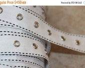 ON SALE 10% off 2 yards White grosgrain ribbon black side stitching silver eyelet grommet trim tape sewing for Corsets Bustiers Lacing costu