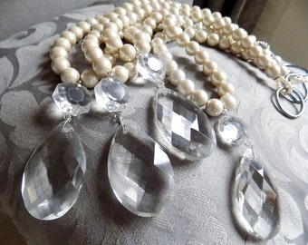 SET OF 4 Decorative luminous faux pearls tieback with vintage glass drops