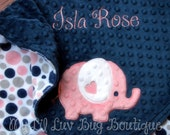 Personalized baby blanket- Navy blue and coral baby blanket elephant with polka dots- coral and navy crib bedding