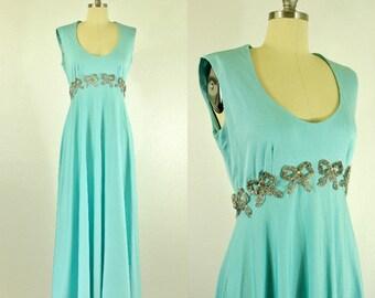 1960's Tiffany Blue Lillie Rubin Dress S M Beaded Bows