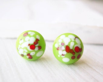 Simple Jewelry - Titanium Post Earrings, Apple Green, Cranberry Red, White, Small, Vintage Confetti Glass, Petite, Nickel Free