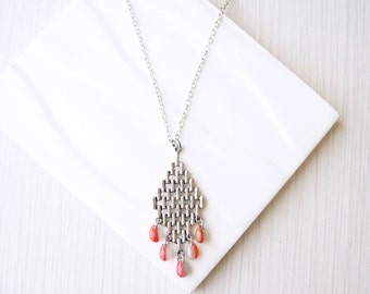 Long Pendant Necklace - Boho Jewelry, Fall, Orange, Grey, Silver, Trendy, Czech Glass, Teardrop, Autumn, Layering
