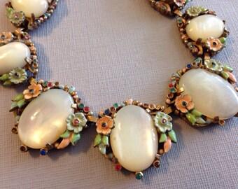 Antique Floral Enamel Necklace White Givre Glass Stones
