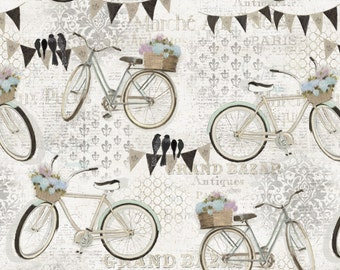 French Flea Market from Four Seasons Fabrics - Full or Half Yard Bicycles with Flower Baskets on Cream