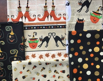 Cheeky Wee Pumpkins from Studio E Fabrics - 5 FQs or Half Yard Cuts Whimsical Witch Feet, Pumpkins, Candy Corn, and Dots Halloween