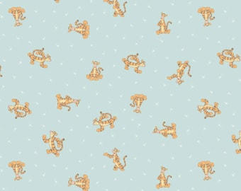 Tigger on blue - Winnie the Pooh from Camelot Fabrics - Tossed Tiggers Full or Half Yard