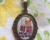 Bunny Rabbit & Laughing Fox - handmade watercolor artwork necklace