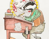 Badger at Desk - original watercolor illustration - 8 x 10 art print