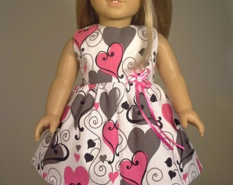 18 inch Doll Clothes Pink & Grey Heart Print Dress fits American Girl Doll Clothes