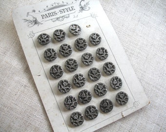 23 Victorian  Buttons ~ Botanical ~ Original Card ~ French