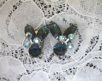 Vintage Rhinestone Earrings ~ Clip On ~ Blue Rhinestones