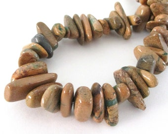"Picture Jasper - Brown Chunky Nugget Beads - Smooth Freeform Irregular - Natural Jasper Nugget Gemstone -7.5"" Strand - Autumn Jewelry Making"