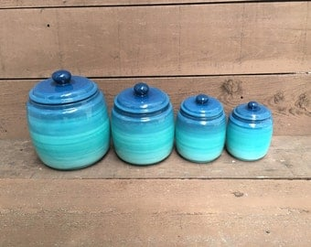 Turquoise Ómbre Kitchen Canister Set - 4 Piece - XL, L, M, S - Ombre Gradient - Shades of Teal