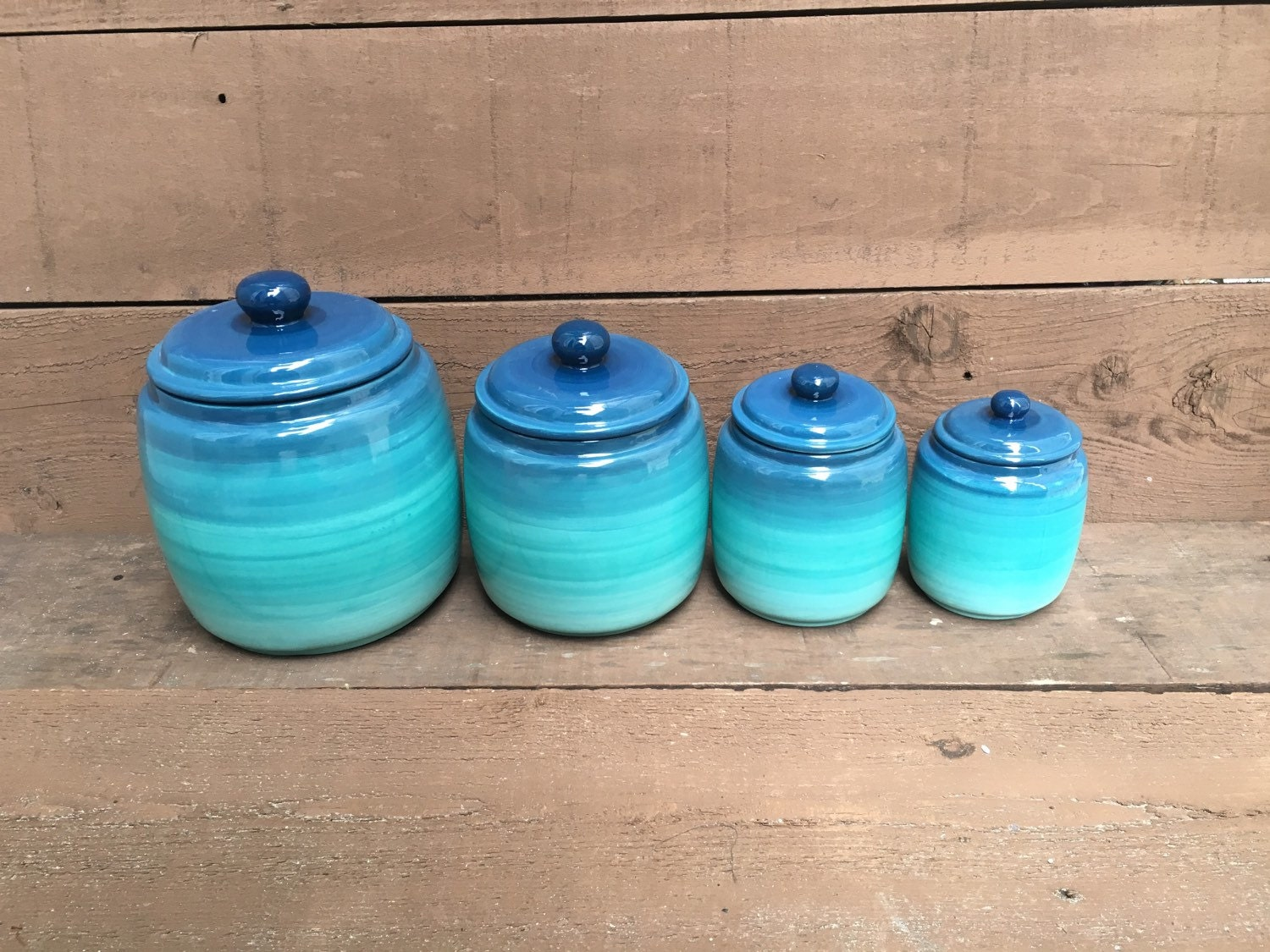 Kitchen Canisters Blue. Interesting Piece Kitchen Canister Set With ...