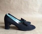 vintage 1960's 70's mod black heels pumps shoes / Mark Howard Studio Original