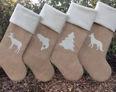 Four Burlap Christmas Stockings, Custom Stockings that You Design, Rustic Chic