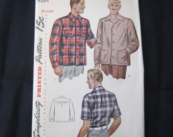 Rare Vintage 1940's Men's Shirt Simplicity Pattern #4884 Marked 15 Cents