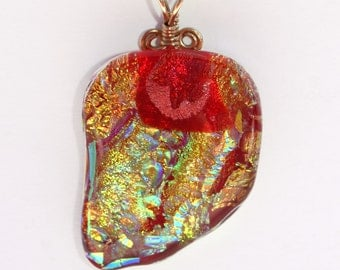 Bright Red and Gold Dichroic Fused Glass Pendant with Gold Filled Wire Wrap - Cyberlily
