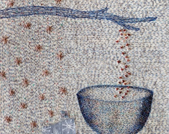 Mixed Media in Blue with Bowl and Falling Beads  / The Art of Wonder, Suite 2 no.9