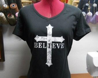 Religious ladies t shirt / I Believe Christian T Shirt / Christian / I Believe / Jesus / Black Christian T Shirt / Womens Christian T Shirt